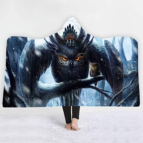 Die Owl 3D gedruckt Super Soft Cosy Throw Decke In Cap Warme Decke für Couch Throw Reise mit Kapuze Decke Anime Blanket-24,150x200cm