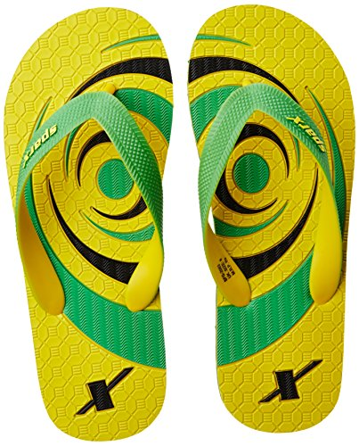 Sparx Men's Yellow and Fluorescent Green Flip Flops Thong Sandals - 8 UK/India (42 EU)(SF2063GYLFG)  available at amazon for Rs.227