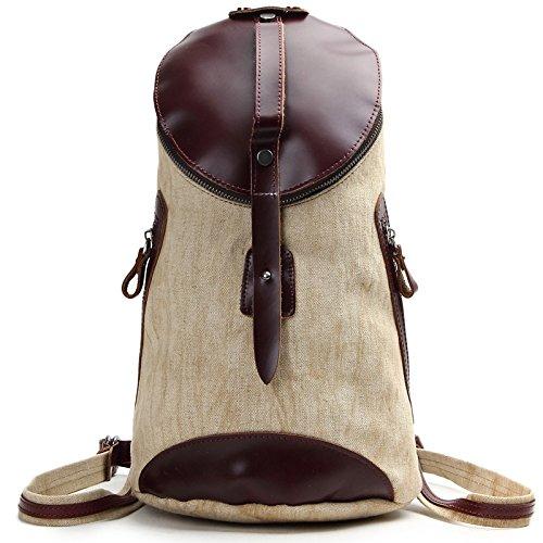 Mefly College Wind Canvas Leder Tasche Farbe Schultertasche Tide Pack Rucksack Beige