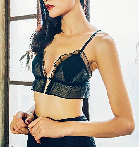RedAlphabet Unterwäsche aus einem Stück sexy dünner französischer Spitze bestickter Schalen-BH, kein Stahlring, Verstellbarer Brustbereich, vordere Schnalle (Size : 70A=30A=65A) - 3