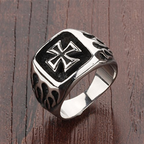 Image of PAURO Jewellery Mens Stainless Steel Fire Flame Iron Cross Rings Rock Gothic Biker, Size S