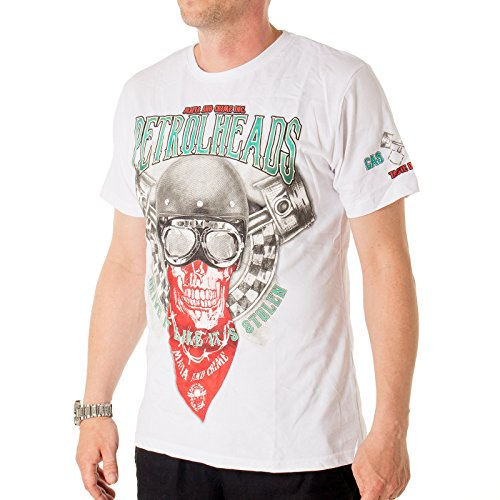 T-Shirt Mafia&Crime Petrolheads Weiß
