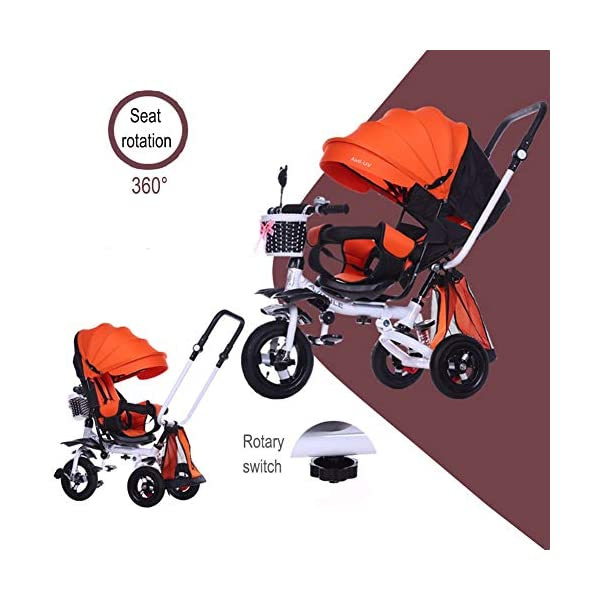 GSDZSY - 4 IN 1 Luxury Children Tricycle, Adjustable Seat, Baby Can Sit Or Lie Flat, Foldable Frame With Shock Absorber, 1-6 Years Old GSDZSY ❀ Material: High carbon steel + ABS + rubber wheel, suitable for children from 1 to 6 years old, maximum load 30 kg ❀ Features: The frame can be folded, the seat can be rotated 360; the backrest can be adjusted, the baby can sit or lie flat, the push rod and the parasol can be adjusted, suitable for different weather conditions ❀ Performance: high carbon steel frame, strong and strong bearing capacity; rubber wheel suitable for all kinds of road conditions, good shock absorption, seat with breathable fabric, baby ride more comfortable 5