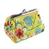 CAheadY Vintage Floral Print Kuss Schließe Frauen Mini Pouch Geld Tasche Geldbörse Yellow