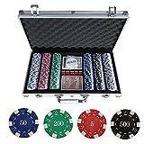Poker Koffer Set,Pokerkoffer Pokerset 300 Laser Pokerchips Poker Komplett Set