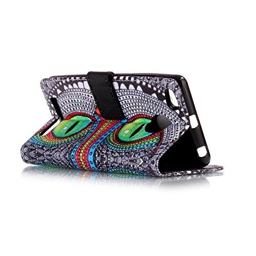 Qiaogle Téléphone Coque - PU Cuir rabat Wallet Housse Case pour Apple iPhone 7 (4.7 Pouce) - YH56 / Paris YH20 / Bleu les yeux hibou