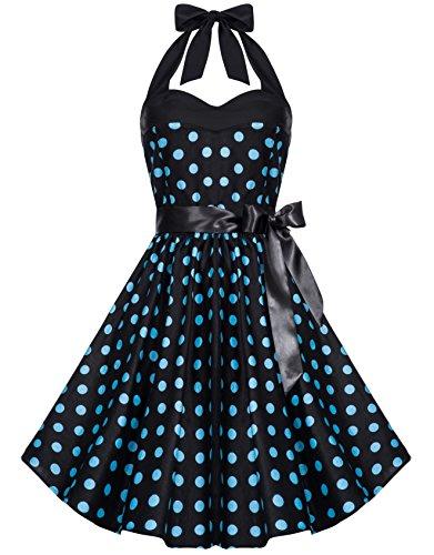 Zarlena Damen Rockabilly Kleid Polka Dots Punkte Tupfen Retro 50er Neckholder Schwarz mit türkisen Dots