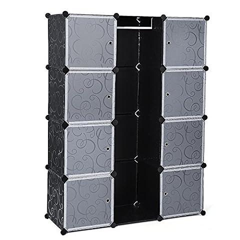 Songmics Armoire Penderie Cubes/étagère de rangement modulables plastiques imprimé cadre en métal LPC30B