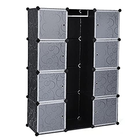 Songmics Interlocking Storage Cube Organiser / Clothes Wardrobe Cabinet with Hanging Rail 110 x 37 x 145 cm Black