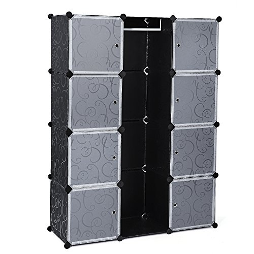 Songmics Armario de almacenaje de ropa Estantería por módulos (estructuras de cubo con puerta, fácil montaje, 145 x 110 x 37cm) LPC30B