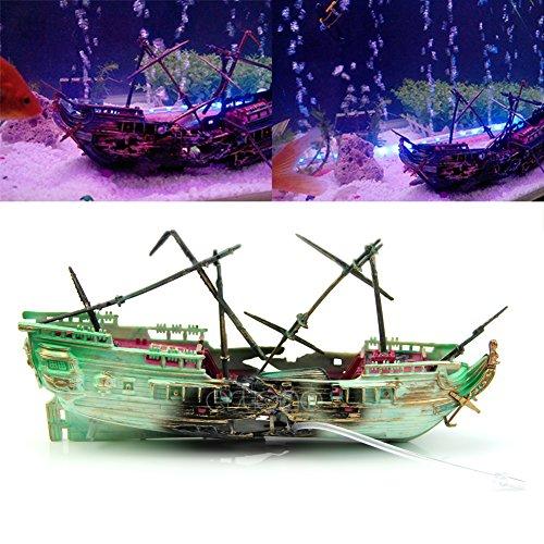 LANDUM Aquarium Wrack Boot versenkt Schiff Air Split Schiffswrack Ornament Fisch Tank Höhle Decor Versenden zufällig