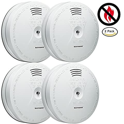 Smoke Alarm, Binwo Best 10-Year Lifespan Optical Smoke Detector and Fire Alarm with Premium Photoelectric Sensor and 5-Year Battery, Free of Radioactive Materials, with CE & RoHS Certified