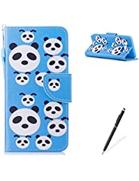 Samasung Galaxy J510/J5 2016 PU Premium Leather Phone Cases,MAGQI Flowers Panda Unicorn Cartoon Pattern Design Cover and [Scratch Proof] Flexible For Samasung Galaxy J510/J5 2016 Flip Wallet Shell-Cute Panda