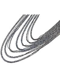 CC1570E - Collier Multi-Rangs Chaînes Brillantes Métal Gris - Mode Fantaisie