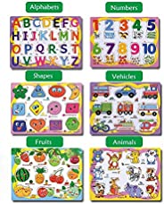 SUPERIMIO Set of 6 Puzzle Board Wooden Colorful Learning Educational Board toys for Kids,Pack of 6 Puzzle Boar