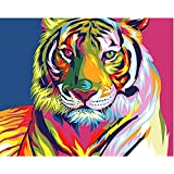 Frameless Colourful Tiger Animals DIY Painting By Numbers Wall Art Acrylic Paintings Hand painted Home Decor For Living Room