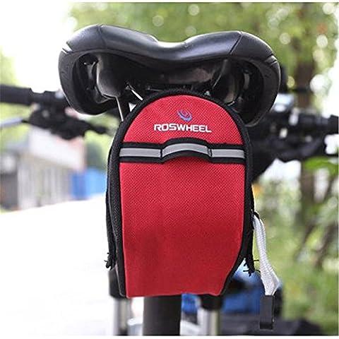 Showkoo Sella della bicicletta della bici del sacchetto 1L Strumenti Sundries Pack per Andare in bicicletta (Rosso)