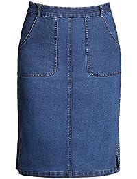 Frauen Damen Split Saum Klassischer Knie Lange Jeans Rock Bleistiftrock e1e1674e05