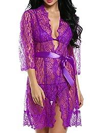 ADOMER Mujer Lencería Picardias Bata Kimono Camisón Ropa Interior Malla ...