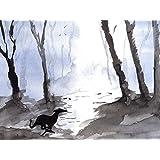 "Greyhound Arts ""Run Free - Mystical Woods"" Lienzo montado en bastidor, diseño de galgo, tamaño A4"