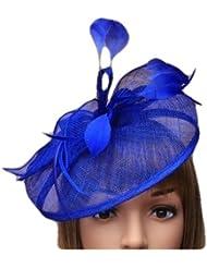 Tocado grande atractivo en color azul cobalto con cinta estilo nupcial inclinada. Carreras, Ladies Day