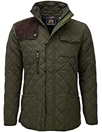 SoulStar Cord Shoulder Patch Quilted Padded Jacket (Medium, Olive)