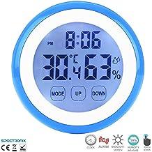 Dispositivo di monitoraggio del comfort in casa Spectronix, con touchscreen digitale | Visualizza temperatura, umidità e ora con sveglia | display LCD e retroilluminato con retro magnetico | Igrometro per casa e ufficio – Versione orologio. Blue