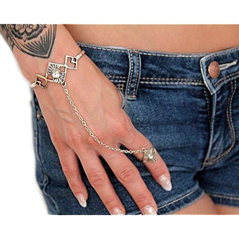 Bracciale vintage orientale boho con anello e catena per mano effetto argento di DesiDo®