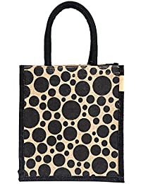 H&B Beautiful, Trendy & Stylish Jute Handbag / Beige Bag With Black Dots / Quality Lunch Bag / Gift Bag / Jute...