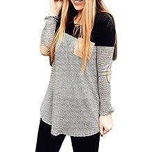 Koly_Le donne a righe tasche pullover girocollo in cotone camicetta