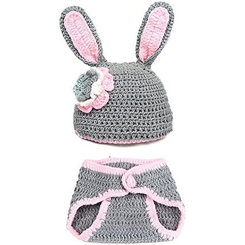 Hecho a mano Newborn Baby Girl Boy conejo de punto de ganchillo ropa fotografía prop bebé disfraz