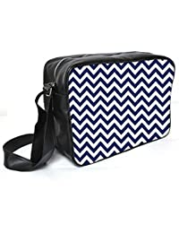 Snoogg White And Blue Strips Leather Unisex Messenger Bag Material PU