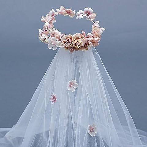 SUYU Tocado novia, cabeza de flor de hilado de seda rosa hecho a mano, luz, venda del pelo, velo, accesorios para el cabello, guirnaldas, accesorios de vestido de la