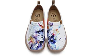 UIN Women's Fairy Lightweight Comfortable Espadrille Abstract Art Painted Travel Shoe White to Walking,Hiking,Wandering,Dating