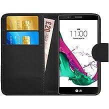 Funda LG G4, G-Shield Carcasa Libro de Cuero Con Tapa y Cartera [Ranuras para Tarjetas] [Cierre Magnético] Funda Billetera Case Cover Para LG G4 - Negro