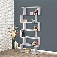 Homcom - Libreria di Design Mobili Ufficio Scaffale in Legno 80x25x192cm Bianco