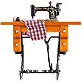 1:12 Dollhouse Wood Metal Material Sewing Machine With Thread Scissors Role Play Toys For Kids Girls (Mini Sewing Machine 2)