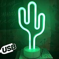 Aizesi Lampe Neon Cactus Decoration Lumineux Cactus Neon Mood Light