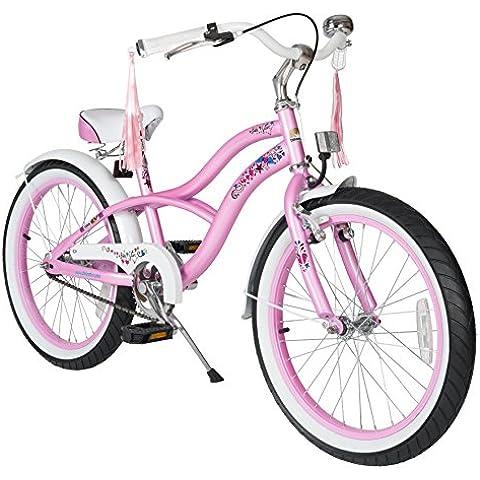 BIKESTAR® Premium 50.8cm (20 pulgada) Bicicleta Premium para los niños mas atrevidos y divertidos de 6 años ★ Edición Cruiser de Lujo ★ Rosa