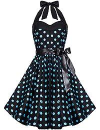 Zarlena Rockabilly Kleid 50er Polka Dots Petticoat Punkte Vintage Neckholder Tellerrock