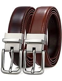 77c8246ba BULLIANT Hombre Cinturón, Cuero Cinturón Reversible,Tamaño Ajuste