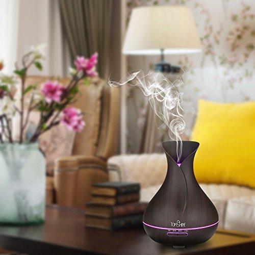 Tomshine 400ml Aroma Diffusor mit Holzmaserung | Flüsterleise – Einstellbar – mit 7 Lichtfarben - 2