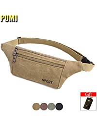 Buyworld Men Canvas Waist Pack Fanny Pack Bum Bag For Women Chest Bag Money Pocket Belt Pouch Dad Bag Travel Pillow...