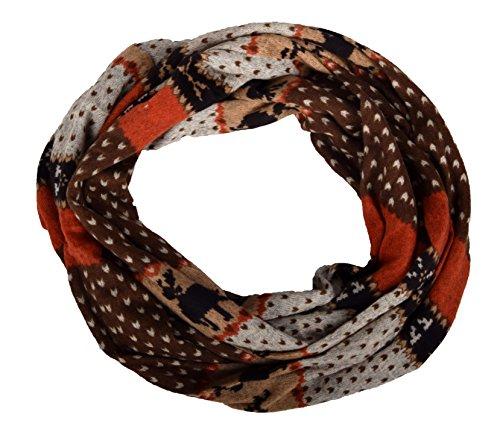 Loop Schal und Schlauchtuch in Norweger Muster Braun/Orange