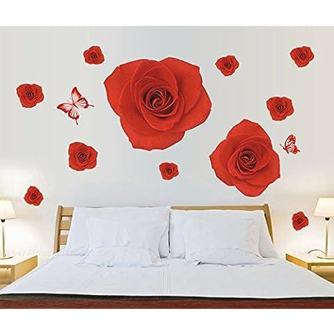 Red Rose, motivo: fiori e farfalle, decalcomania
