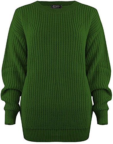 MyMixTrendz Women Ladies Winter Cable Knit Fishernet Loose Baggy Crew Neck Plus Size Jumper Top Grün