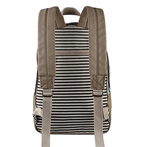 Easy Stripe Casual Canvas Zaino Scuola Zaini Scuola Borsa Daypack Daypack Per Ragazze Ragazzi Nero Nero