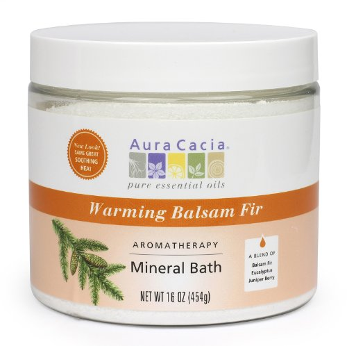 Aura Cacia Aromatherapy Mineral Bath, Warming Balsam Fir, 16 ounce jar (Pack of 2) by Aura Cacia