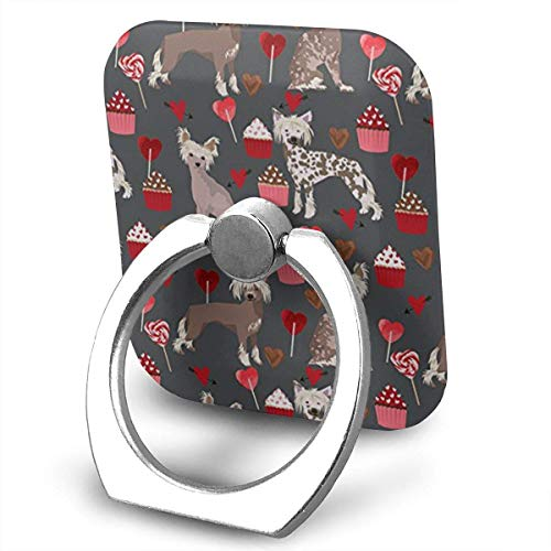 Nicegift Chinese Crested Dog Valentines Cupcakes Finger Ring Holder, Universal Cell Phone Ring Grip Stand Support for iPhone Android Phone