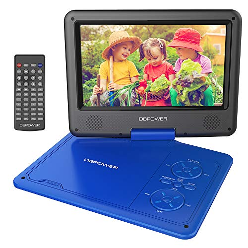 DBPOWER 9.5\'\' Tragbarer DVD-Player mit Wiederaufladbarer Batterie, Schwenkbaren Bildschirm, Unterstützt SD-Karte und USB, mit Spiele-Joystick, Auto-Ladegerät-Blau